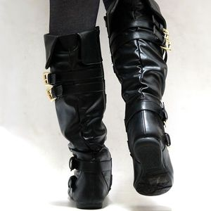 Shoes - New Black Buckle Slouchy Knee High Riding Boots